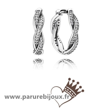 Qualité Pandora Twist Of Fate Hoop Boucles D'Oreilles Clear Cz
