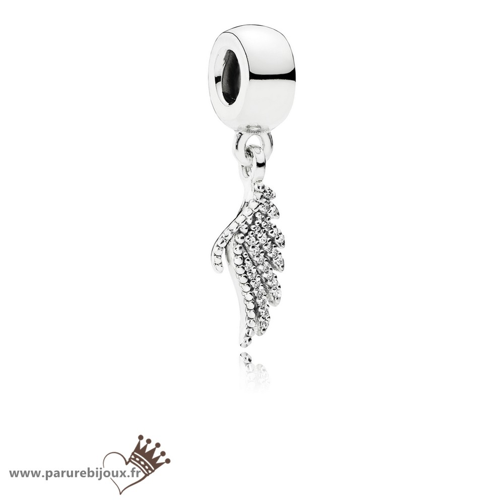 Qualité Pandora Pandora Passions Charms Chic Glamour Majestueux Feather Dangle Charm Clear Cz