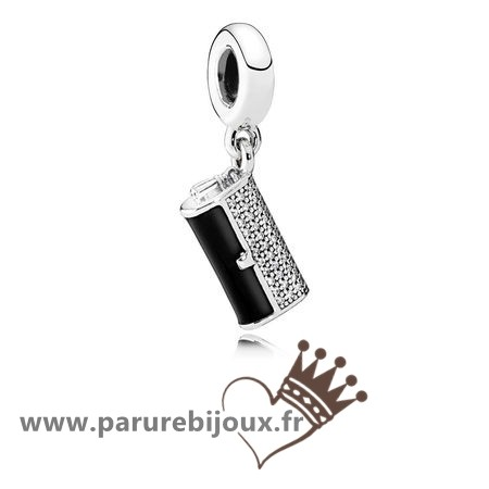 Qualité Pandora Pandora Passions Charms Chic Pochette Glamour Dangle Charm Black Enamel Clear Cz