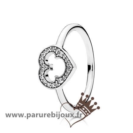 Qualité Pandora Pandora Disney Collection Disney Mickey Silhouette Bague Clear Cz