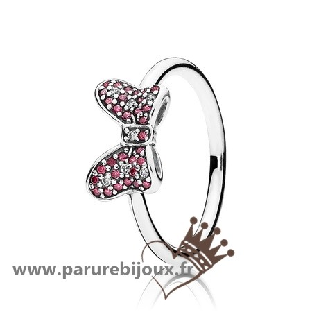 Qualité Pandora Pandora Disney Minnie'S Mousseux Bow Bagues Red Clear Cz